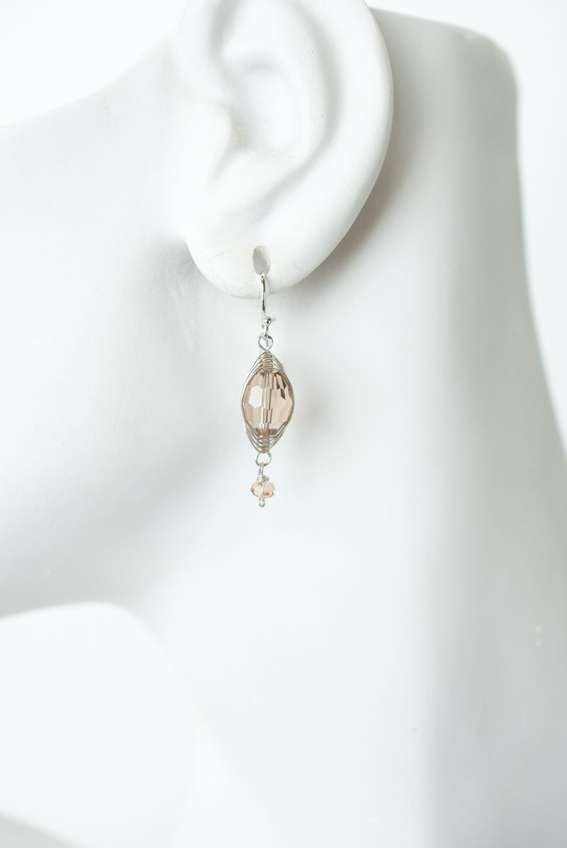 Herringbone Tan Oblong Crystal Dangle Earrings