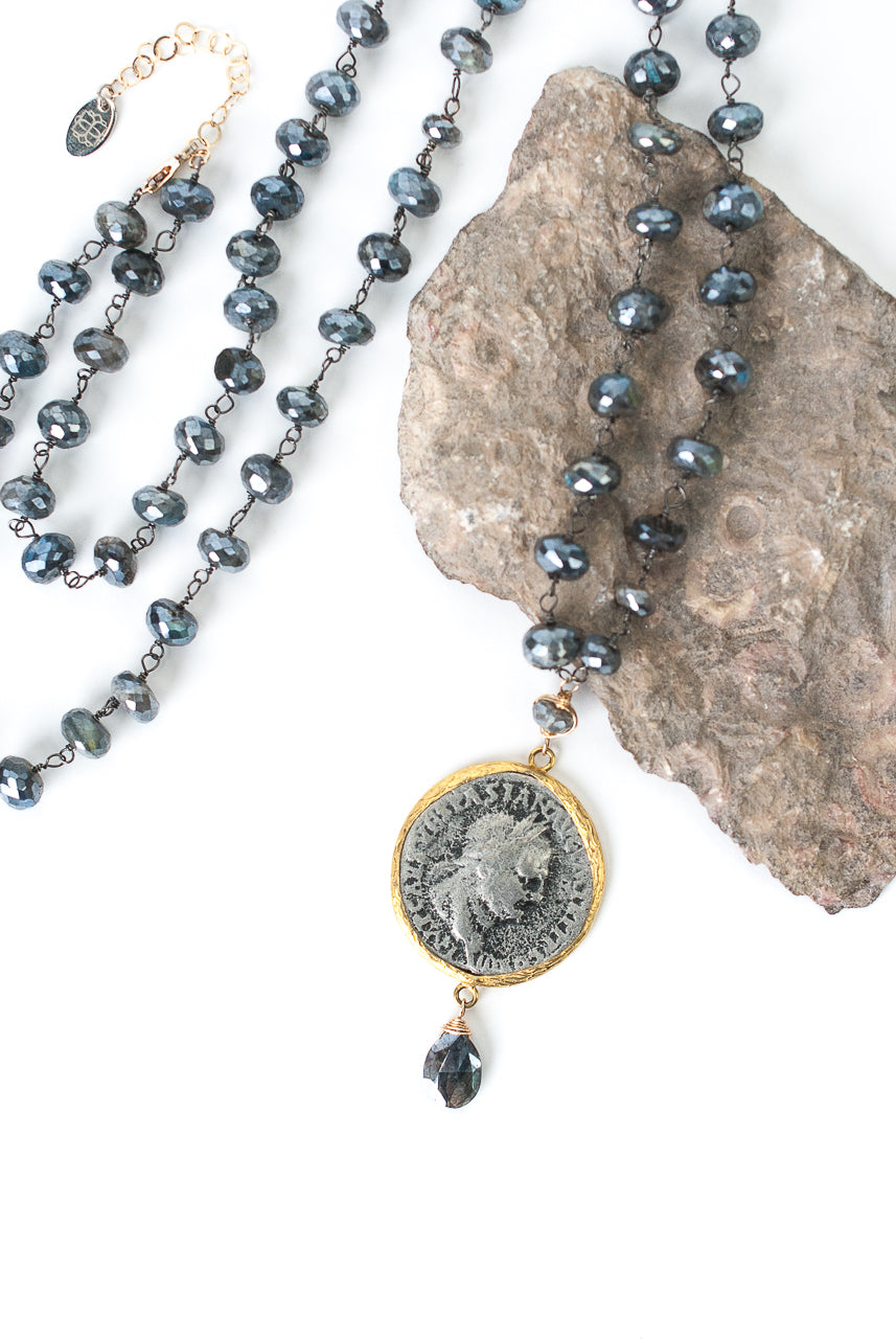 "Limited Edition 32.25-34.25"" Labradorite, Ancient Coin Focal Necklace"