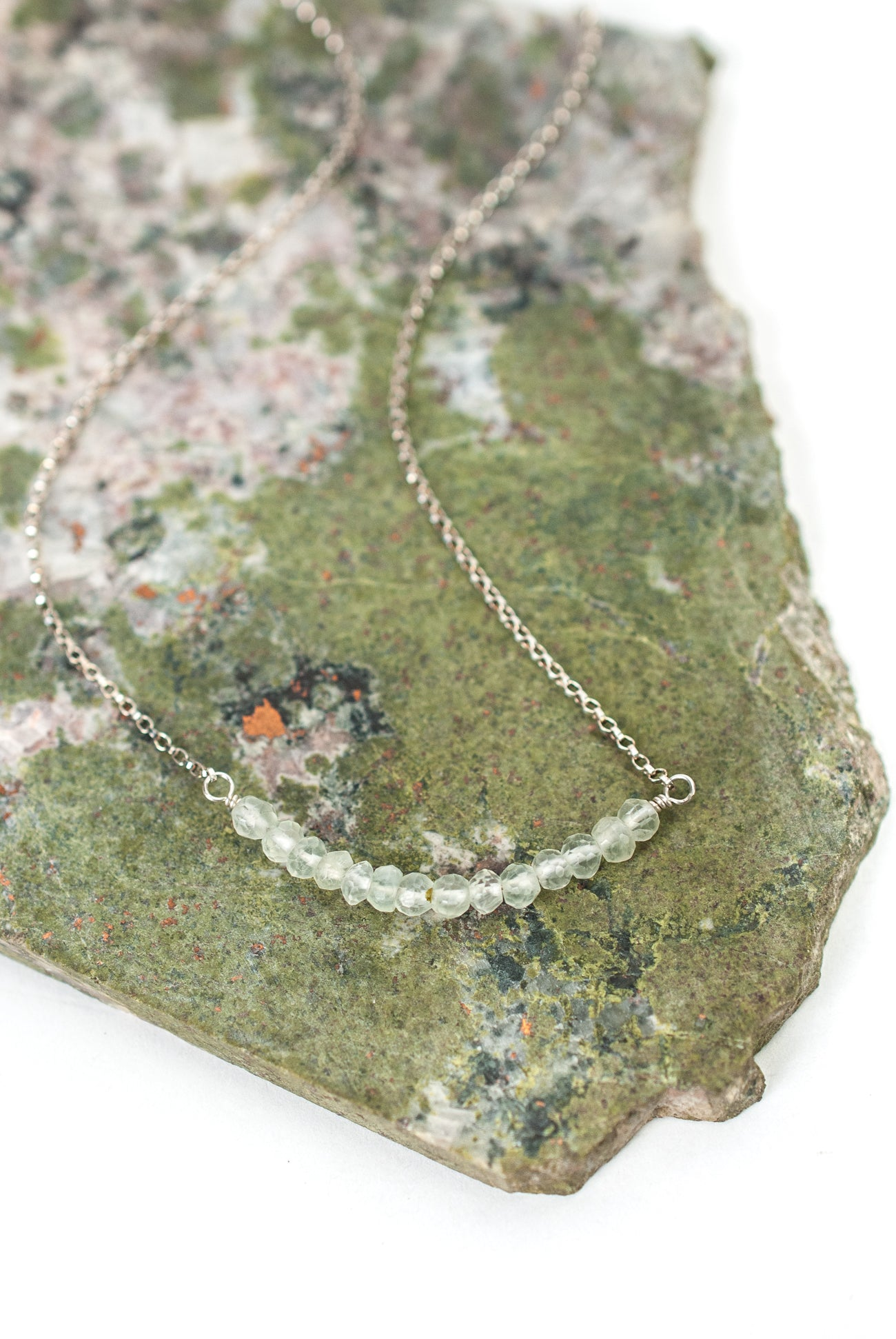 "Limited Edition 16-18"" Prehinite Bar Necklace"