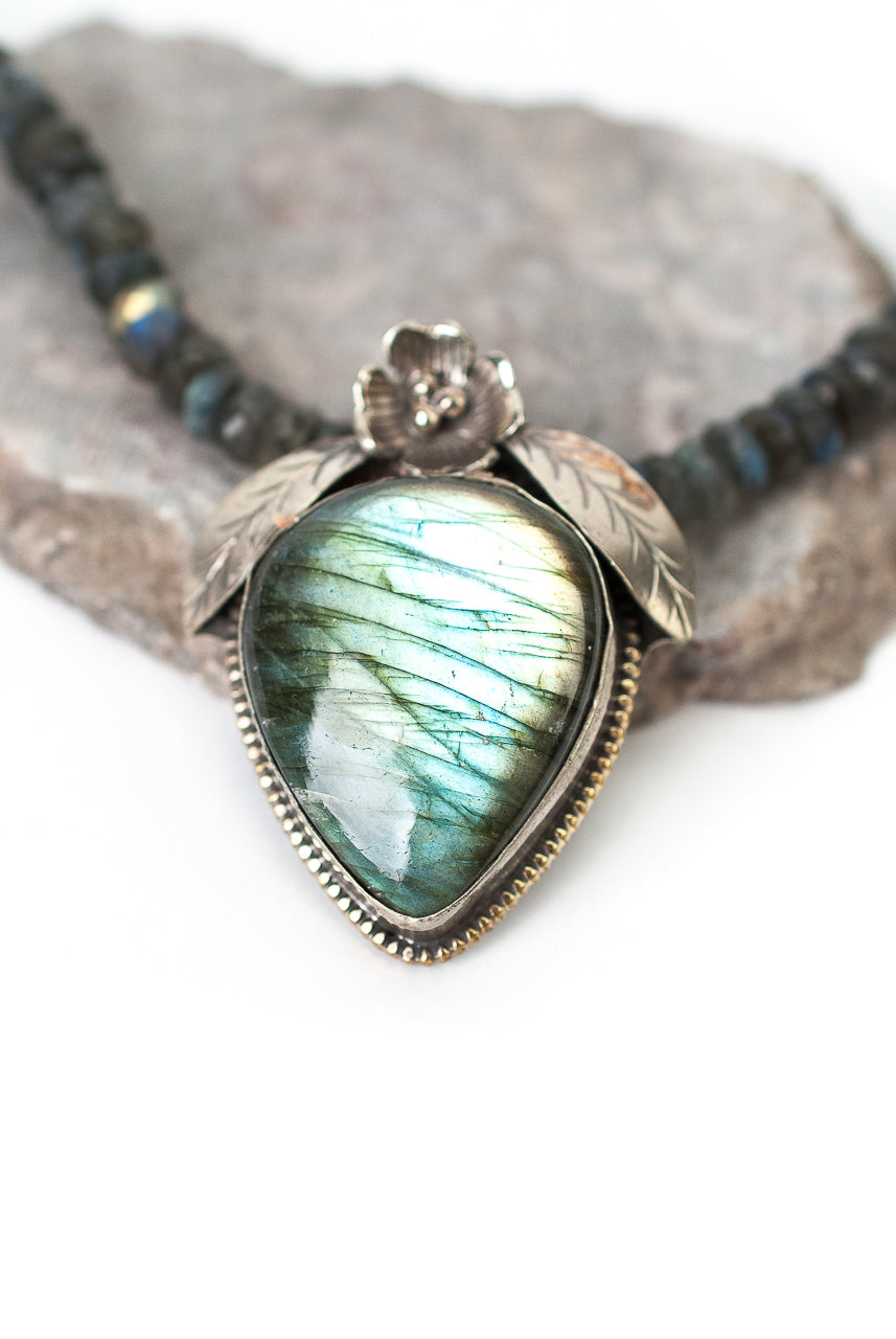 "One of a Kind 19-21"" Labradorite, Fine Silver Pendant Necklace"
