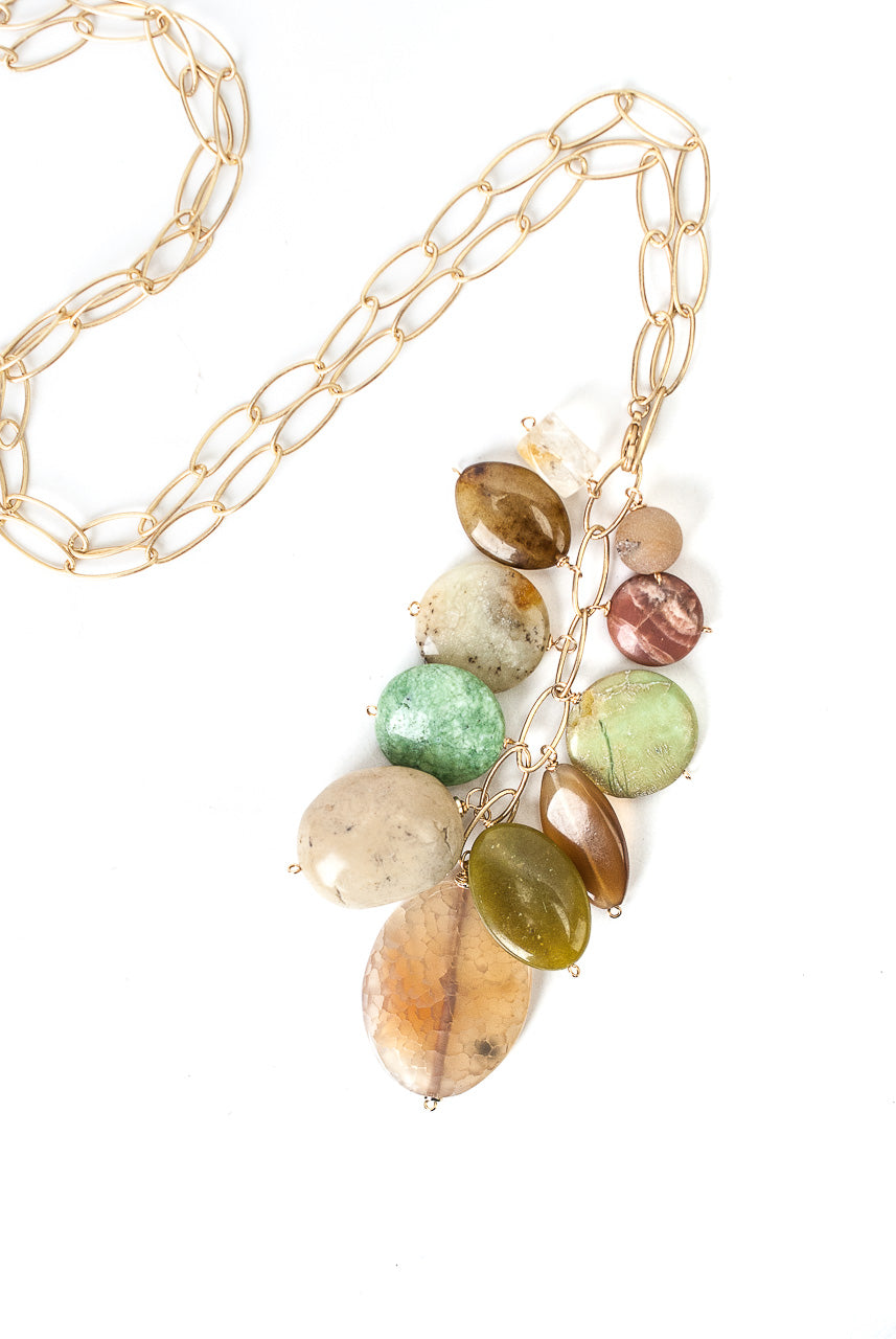One of a Kind Adjustable Olive Jade, Citrine, Druzi Cluster Necklace