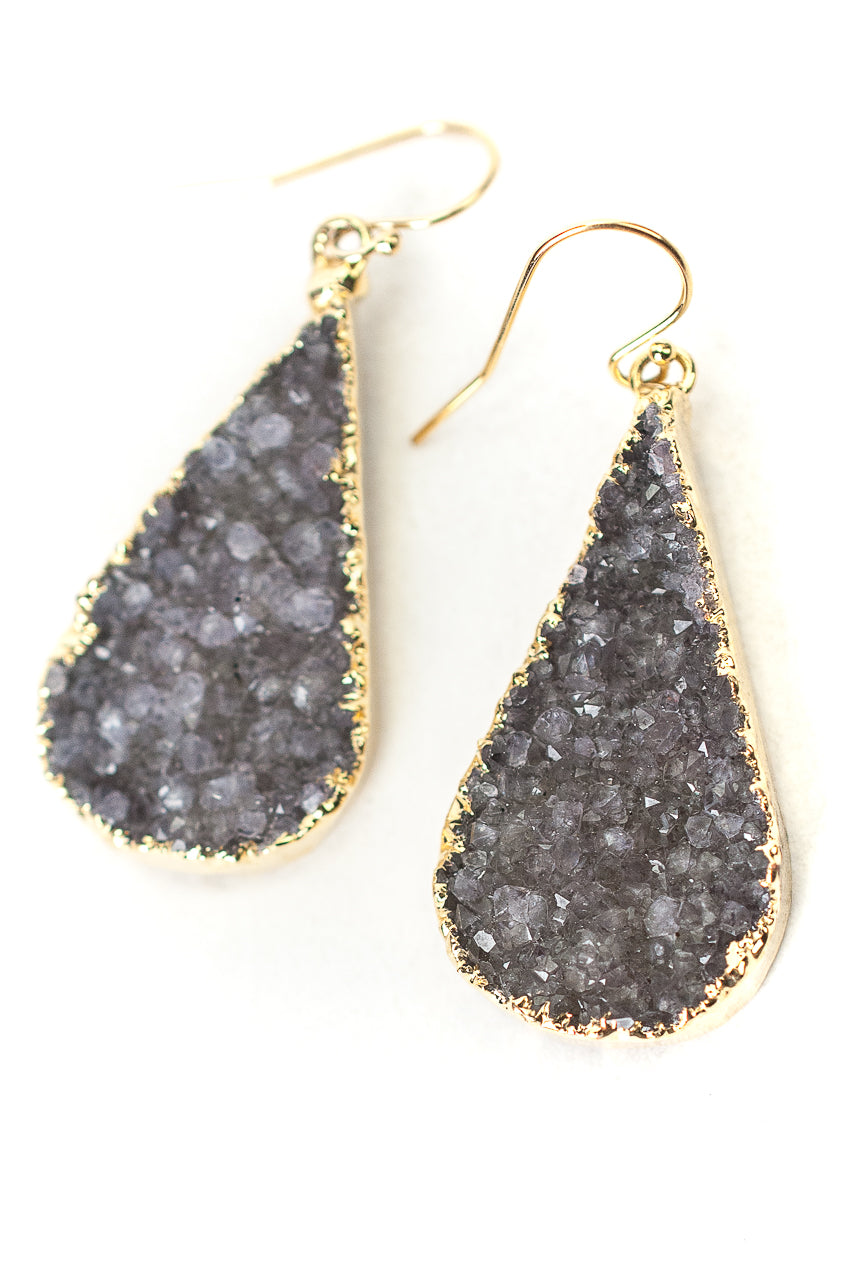 One of a Kind Purple Druzy Teardrop Earrings