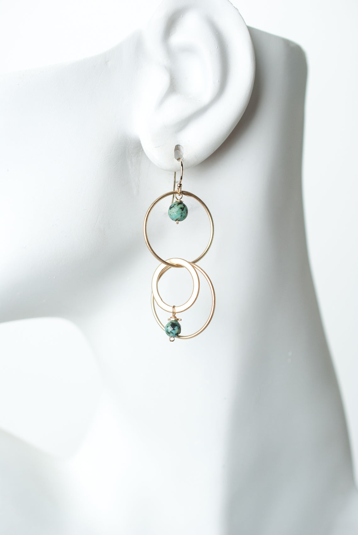 Tranquil Gardens African Turquoise Hoop Dangle Earrings