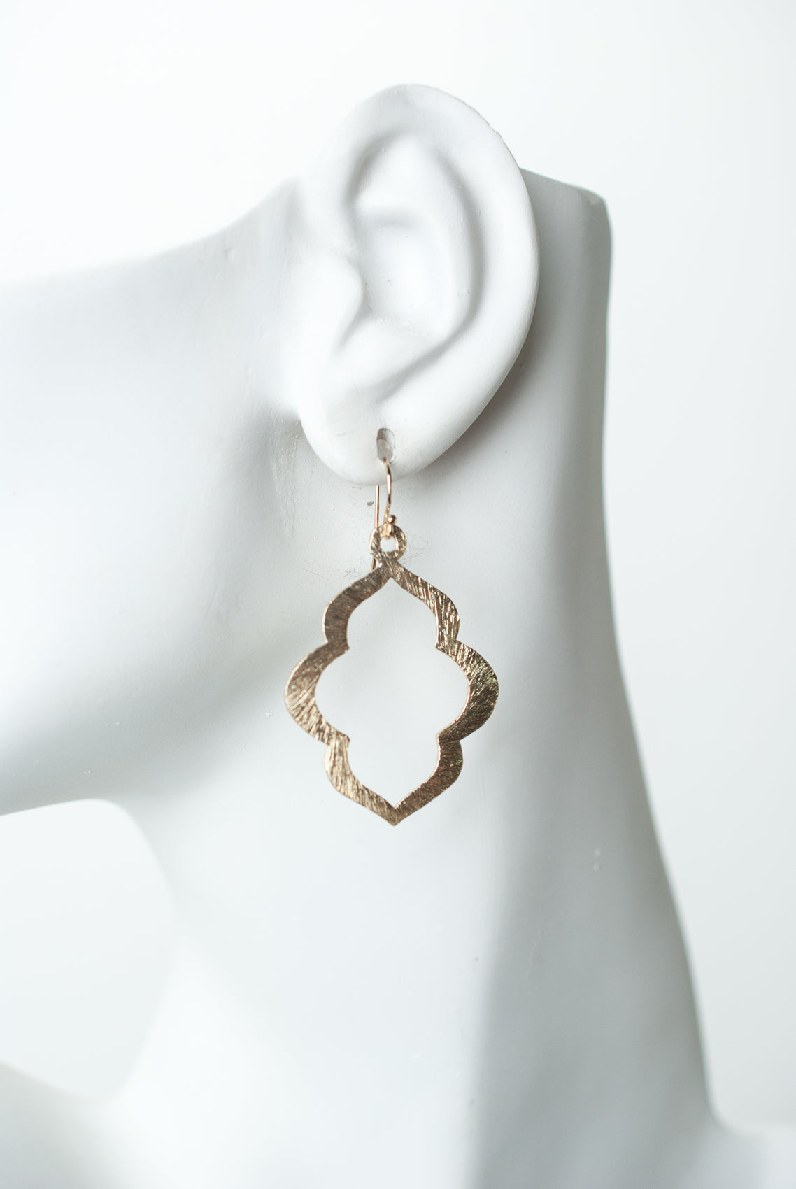 Tranquil Gardens Matte Gold Quatrefoil Earrings