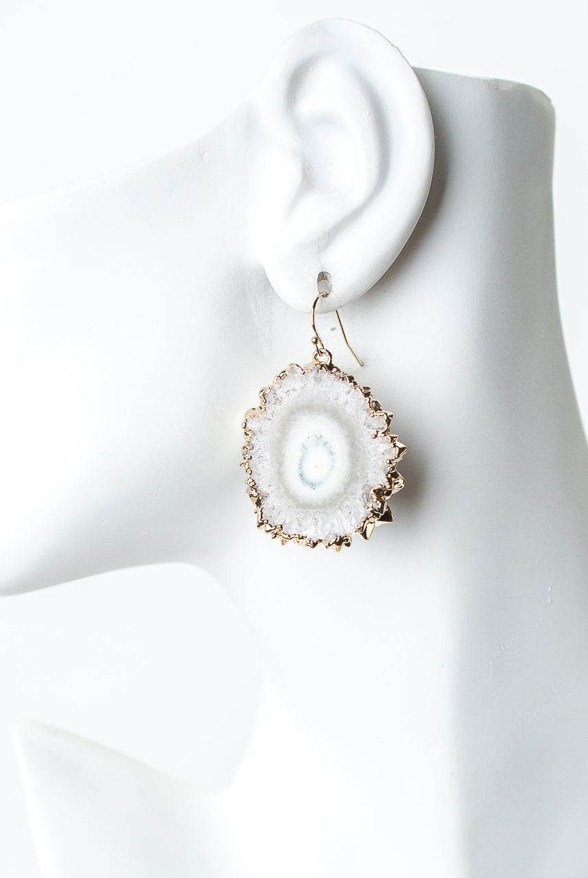 One of a Kind Agate Slice Earrings