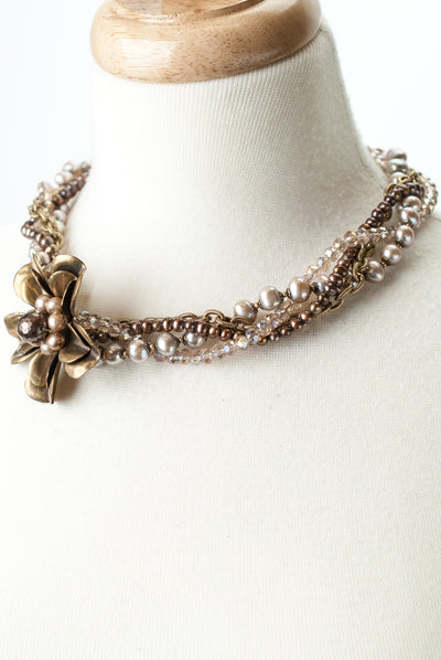 "One of a Kind 18-20"" Pearl, Crystal Multistrand Vintage Flower Focal Necklace"