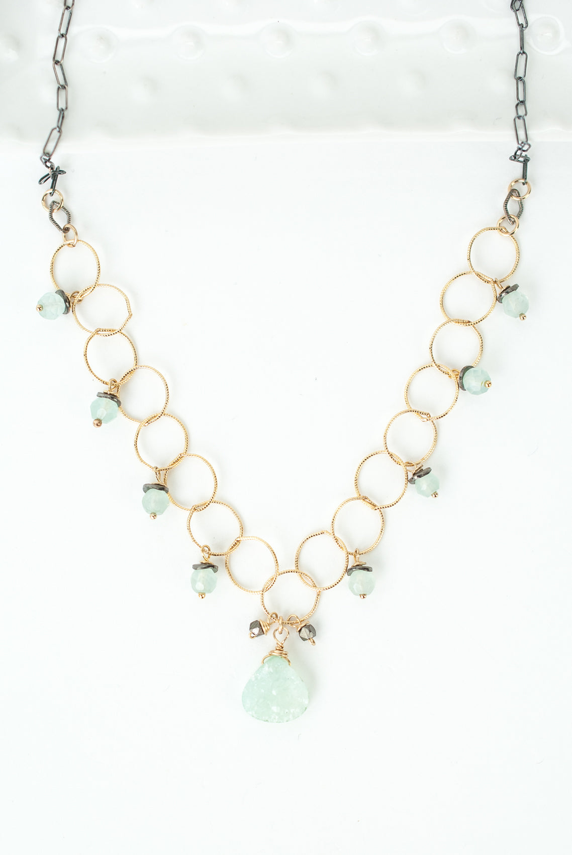 "One of a Kind 23.5-25.5"" Chalcedony, Druzy Simple Necklace"