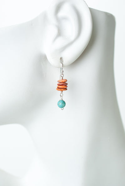 Limited Edition Turquoise, Spiny Oyster Dangle Earrings