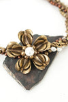 "One of a Kind 18-20"" Pearl Multistrand Vintage Flower Focal Necklace"