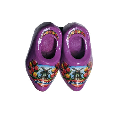Magnet - Pair Wooden Shoe (Purple) 4cm.