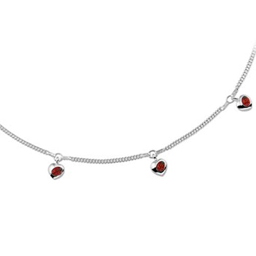 Ladybug Necklace - Dangling Heart w/ Angled Bug (Fine Chain) - 36-38cm