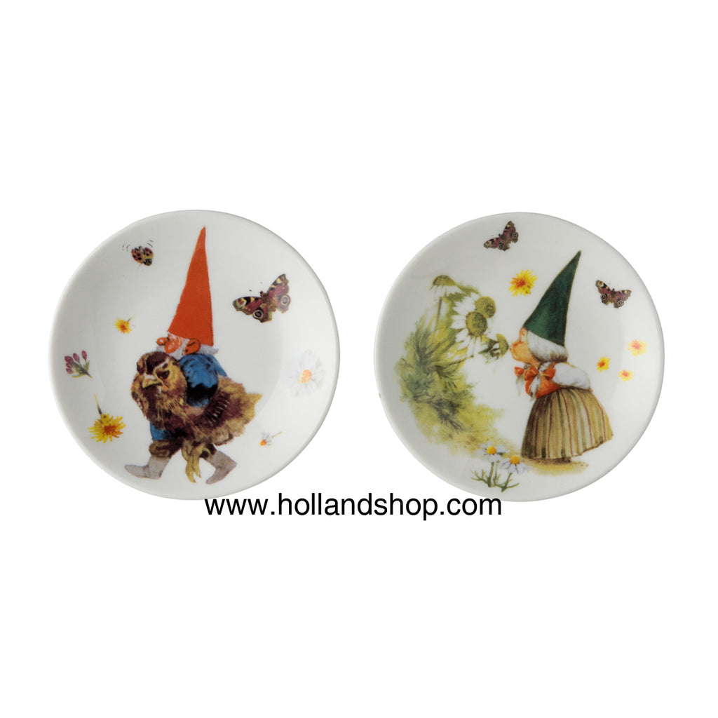 "Rien Poortvliet - Plates Tiny design 6&7 (Set of 2) ""Gnomes"""