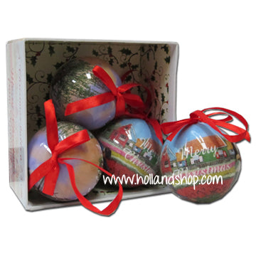 Ornaments - Coloured Balls Tulips & Mills (Set of 4)