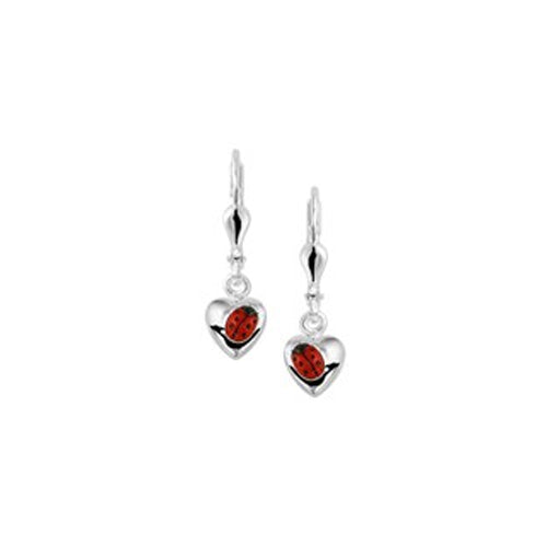 Ladybug Earrings - Dangling (Heart w/ Angled Bug)