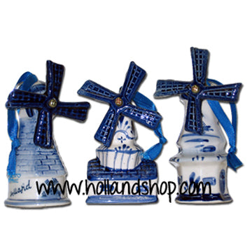 Ornament - Delft Blue Windmills (Set of 3)