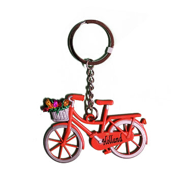 Keychain - Bicycle with Tulips (Orange)