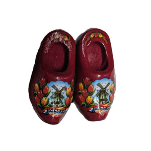 Magnet - Pair Wooden Shoes (Red) 4cm.