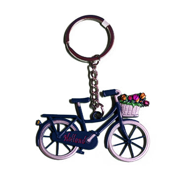 Keychain - Bicycle with Tulips (Blue)