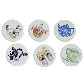 "Alie Kruse-Kolk - Coasters (Set of 6) ""Country Life"""