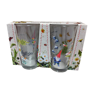 "Rien Poortvliet - Glasses Tall (Set of 2) 300mL ""Gnomes"""