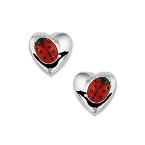 Ladybug Earrings - Stud (Heart w/ Angled Bug)