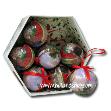 Ornaments - Coloured Balls Tulips & Mills (Set of 7)