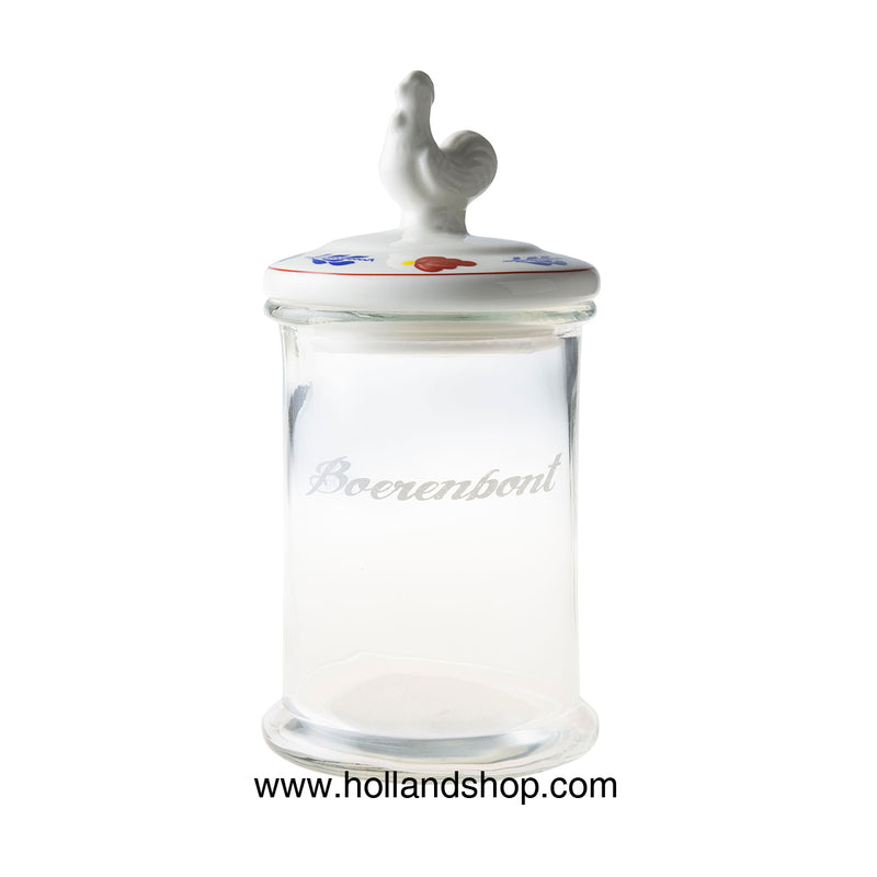 Boerenbont Glass - Storage Jar with Chicken on Lid (1.35L)