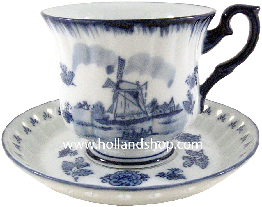 Cup & Saucer - Delft Blue Royal T (Mill)