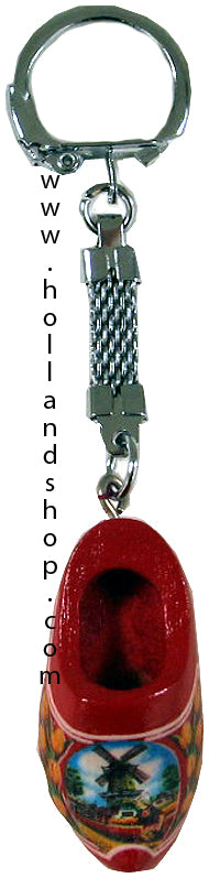 Keychain - Single Wooden Shoe (Red) 4cm