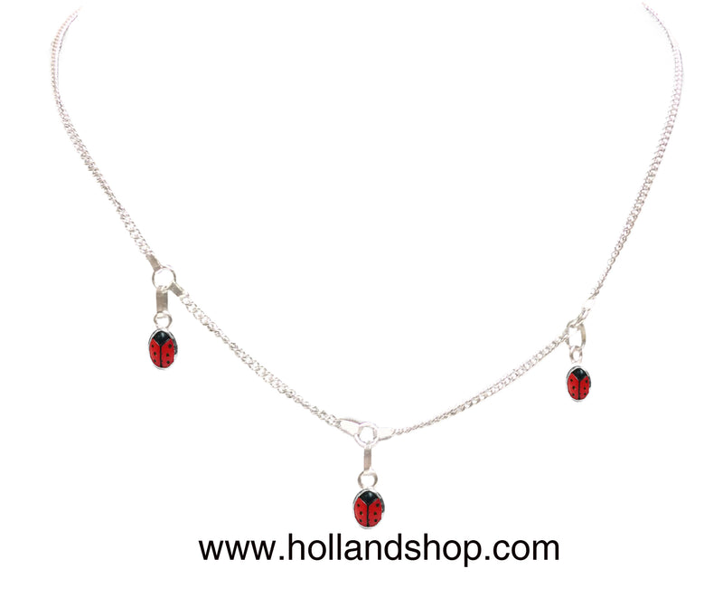 Ladybug Necklace - Dangling (Fine Chain) - 36cm w/ 2cm extension