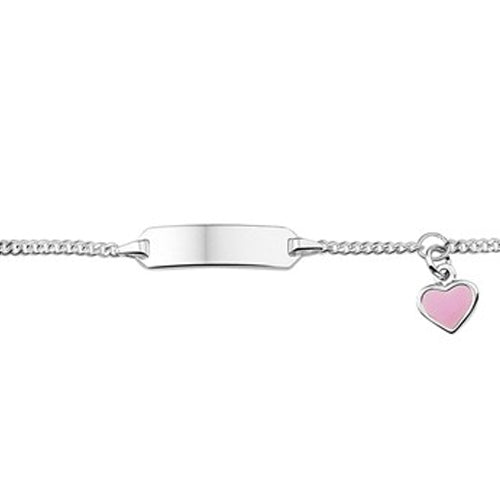 Baby Bracelet w/ Dangle Heart (Pink) - Silver Plain Plate (5mm) 9-11cm