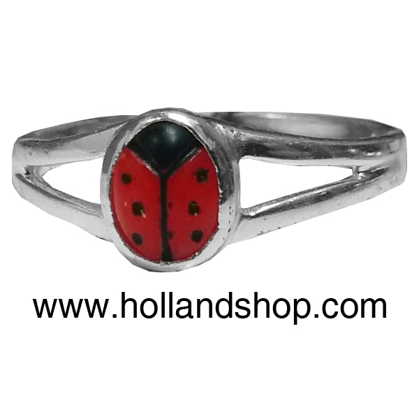 Ladybug Ring (Heart with Straight Bug) - Multiple Sizes