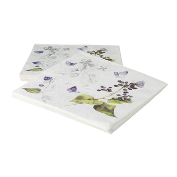 "Marjolein Bastin - Napkins Blue Berry (Set of 20) ""Sketch of Nature"""