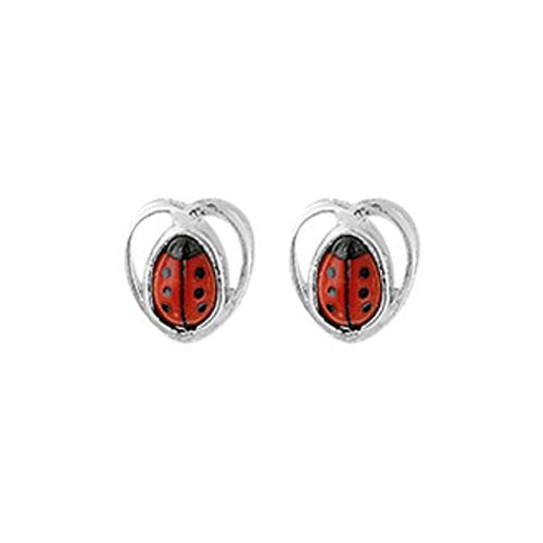 Ladybug Earrings - Stud (Heart w/ Straight Bug)