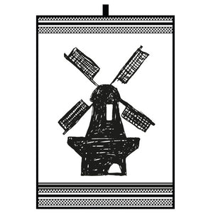 Dutch Floral - Black Tea Towel with Windmill (50x70cm)