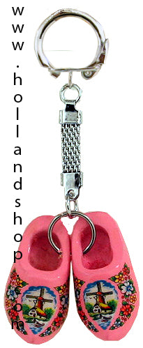 Keychain - Pair Wooden Shoes (Pink) 4cm