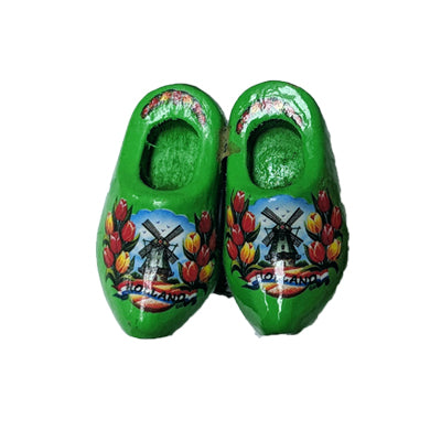 Magnet - Pair Wooden Shoes (Lime) 4cm.
