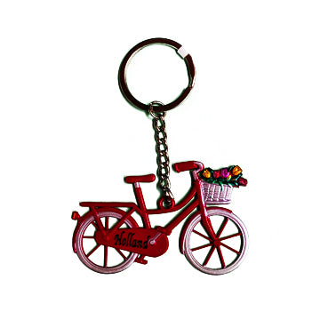 Keychain - Bicycle with Tulips (Red)