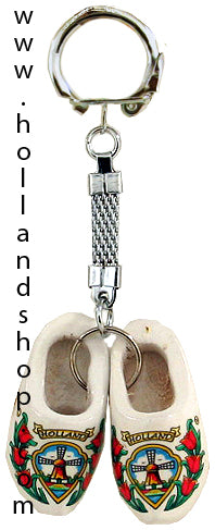 Keychain - Pair Wooden Shoes (White) 4cm