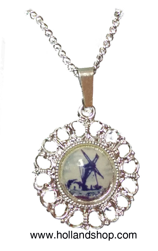 Delft Blue Necklace - Large Round