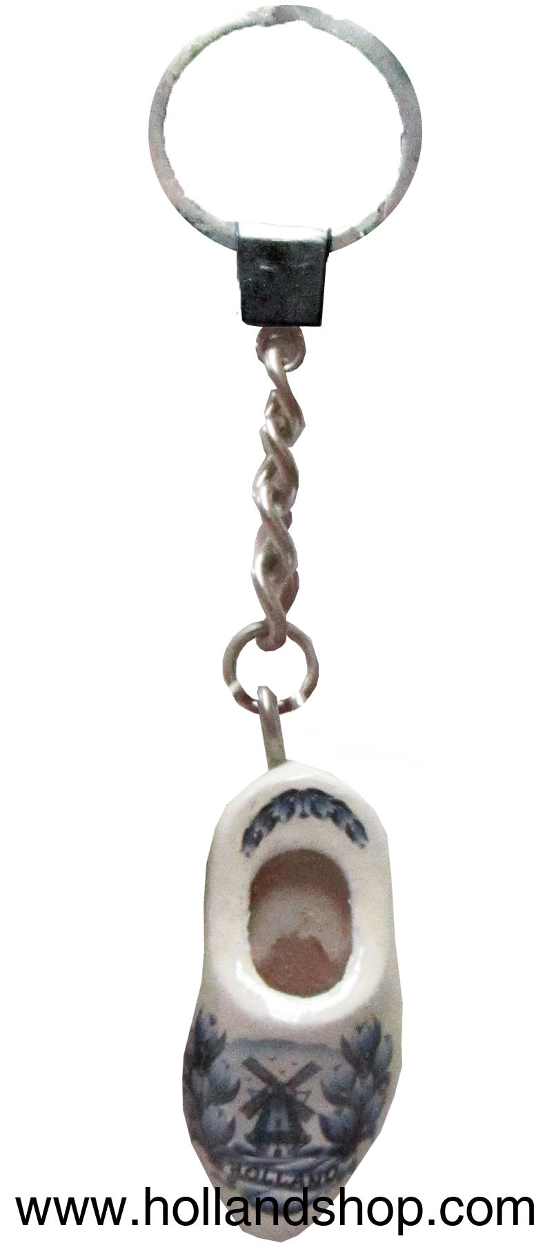 Keychain - Single Wooden Shoe (Delft Blue) 4cm