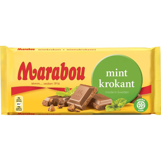 Marabou Mintkrokant - Milk Chocolate with Mint 200 g