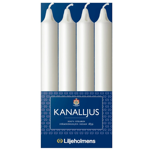 Liljeholmens Kanalljus - White candles 12pcs