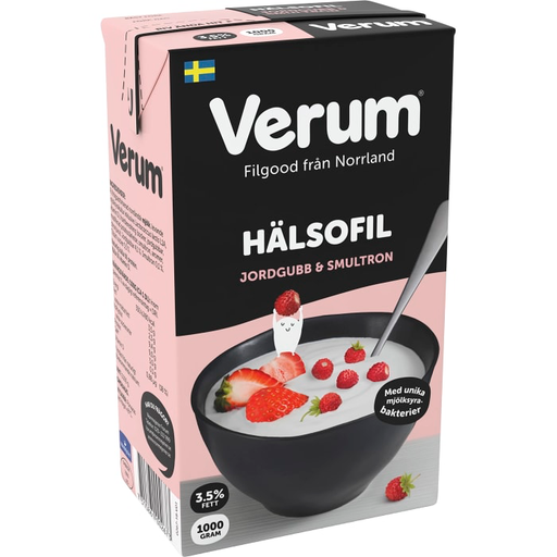 Verum Hälsofil Jordgubb & Smultron 3,5% - Strawberry & Wildberry Buttermilk 1 L