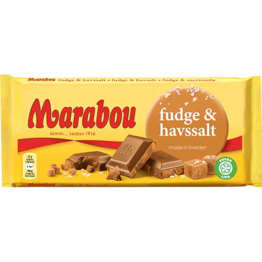 Marabou Fudge & Havssalt - Milkchocolate with Fudge & Seasalt 185 g
