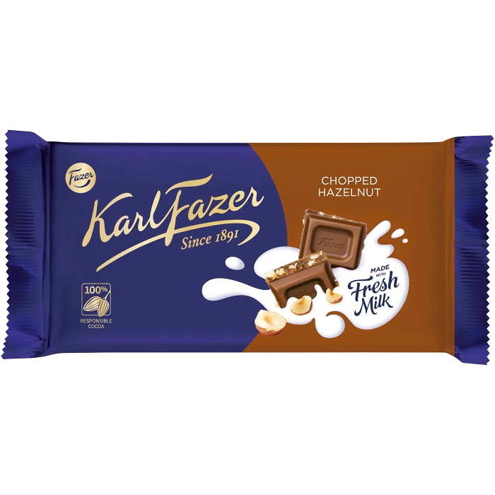 Fazer Chopped Hazelnut Chocolate Bar - 145g