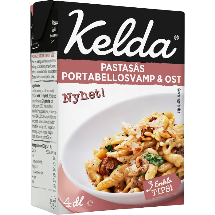 Kelda Pastasås Portobellosvamp & Ost - Pasta Sauce Portobello Mushrooms & Cheese 4dl