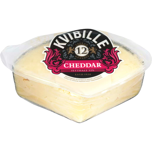Kvibille Cheddar ost  XL lagrad 12 mån 32% - Matured Cheddar Cheese 500g