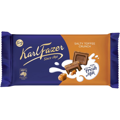 Fazer Salty Toffee Crunch Chocolate Bar - 145g