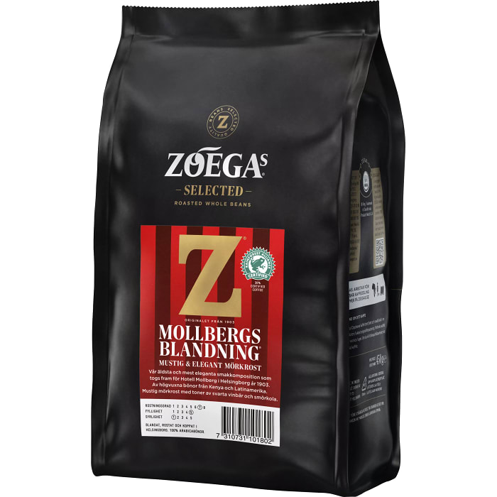 Zoegas Bönor Mollbergs Blandning - Dark Roasted Coffee Beans 450 g
